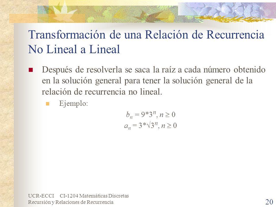 UCR-ECCI CI-1204 Matemáticas Discretas Recursión y Relaciones de Recurrencia 20 Transformación de una Relación de Recurrencia No Lineal a Lineal Despu