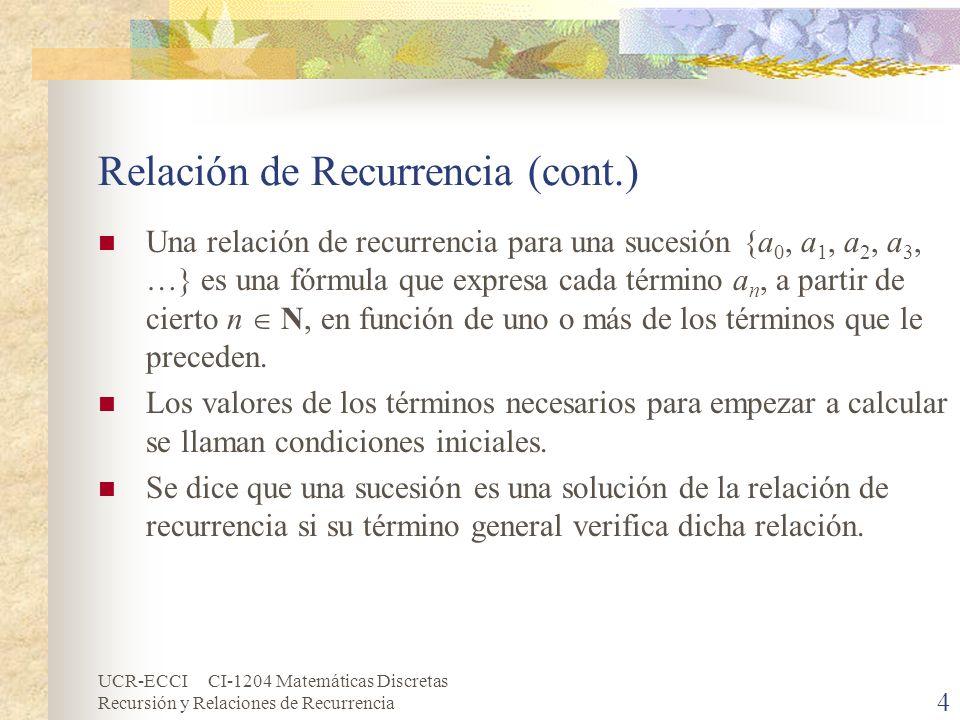 UCR-ECCI CI-1204 Matemáticas Discretas Recursión y Relaciones de Recurrencia 5 Relación de Recurrencia (cont.) Las relaciones de recurrencia pueden considerarse como técnicas avanzadas de conteo.