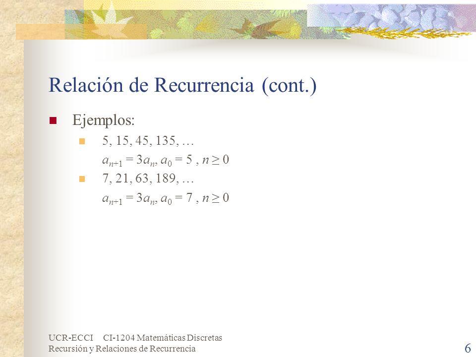 UCR-ECCI CI-1204 Matemáticas Discretas Recursión y Relaciones de Recurrencia 17 Solución General: Relaciones de Recurrencia de Primer o Segundo Orden, Lineales, No Homogéneas y con Coeficientes Constantes (cont.) f(n)f(n)anpanp c, constante n n 2 n t, t Z+ r n, r R n t r n A, constante A 1 n + A 0 A 2 n 2 + A 1 n + A 0 A t n t + A t-1 n t-1 + … + A 1 n + A 0 Ar n r n (A t n t + A t-1 n t-1 + … + A 1 n + A 0 ) Tabla 1