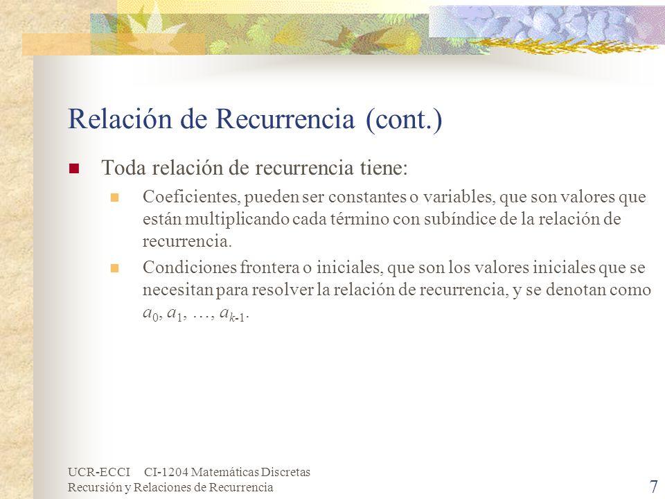 UCR-ECCI CI-1204 Matemáticas Discretas Recursión y Relaciones de Recurrencia 8 Relación de Recurrencia (cont.) Una relación de recurrencia puede ser: Primer Orden: Cuando la relación de recurrencia sólo depende de su predecesor inmediato.