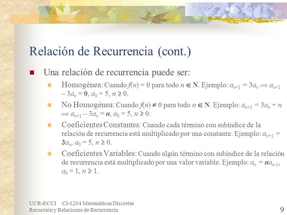 UCR-ECCI CI-1204 Matemáticas Discretas Recursión y Relaciones de Recurrencia 9 Relación de Recurrencia (cont.) Una relación de recurrencia puede ser: