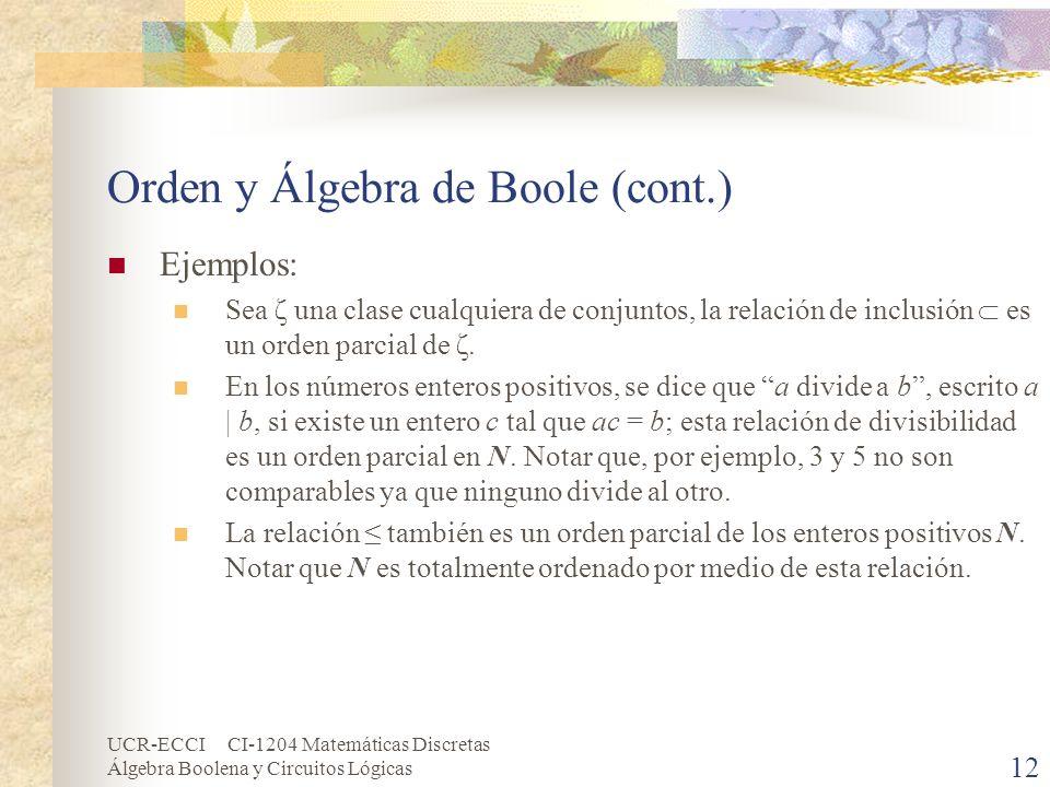 UCR-ECCI CI-1204 Matemáticas Discretas Álgebra Boolena y Circuitos Lógicas 12 Orden y Álgebra de Boole (cont.) Ejemplos: Sea ζ una clase cualquiera de