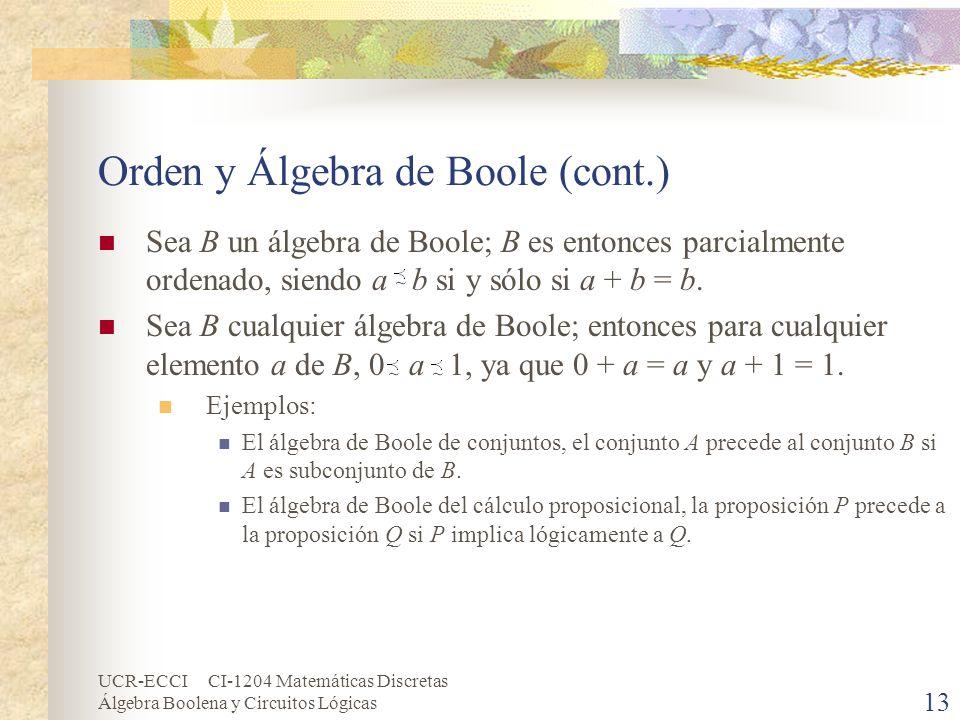UCR-ECCI CI-1204 Matemáticas Discretas Álgebra Boolena y Circuitos Lógicas 13 Orden y Álgebra de Boole (cont.) Sea B un álgebra de Boole; B es entonce