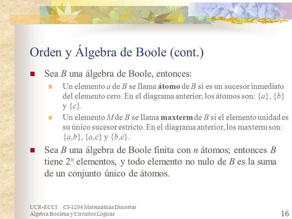 UCR-ECCI CI-1204 Matemáticas Discretas Álgebra Boolena y Circuitos Lógicas 16 Orden y Álgebra de Boole (cont.) Sea B una álgebra de Boole, entonces: U