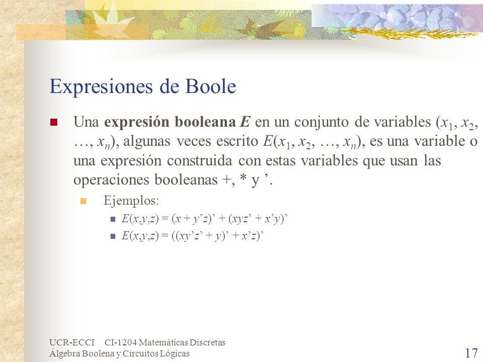 UCR-ECCI CI-1204 Matemáticas Discretas Álgebra Boolena y Circuitos Lógicas 17 Expresiones de Boole Una expresión booleana E en un conjunto de variable