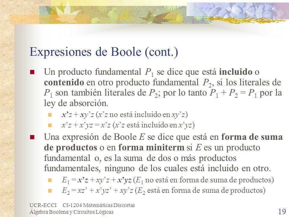 UCR-ECCI CI-1204 Matemáticas Discretas Álgebra Boolena y Circuitos Lógicas 19 Expresiones de Boole (cont.) Un producto fundamental P 1 se dice que est
