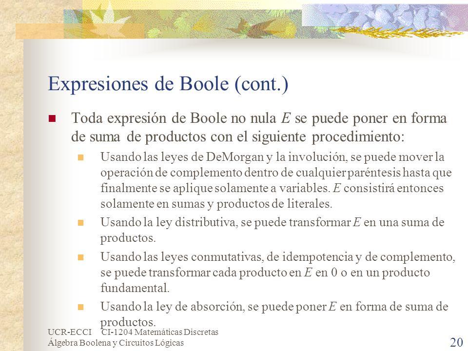 UCR-ECCI CI-1204 Matemáticas Discretas Álgebra Boolena y Circuitos Lógicas 20 Expresiones de Boole (cont.) Toda expresión de Boole no nula E se puede