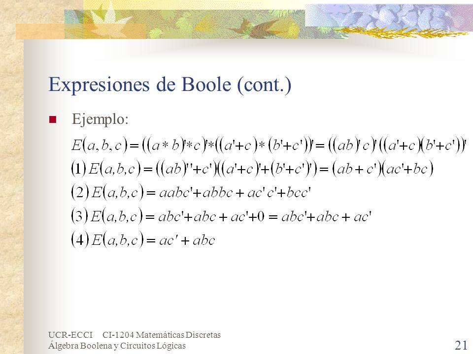 UCR-ECCI CI-1204 Matemáticas Discretas Álgebra Boolena y Circuitos Lógicas 21 Expresiones de Boole (cont.) Ejemplo: