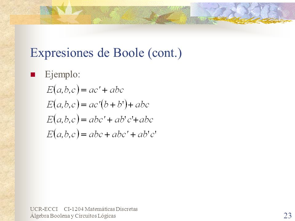 UCR-ECCI CI-1204 Matemáticas Discretas Álgebra Boolena y Circuitos Lógicas 23 Expresiones de Boole (cont.) Ejemplo: