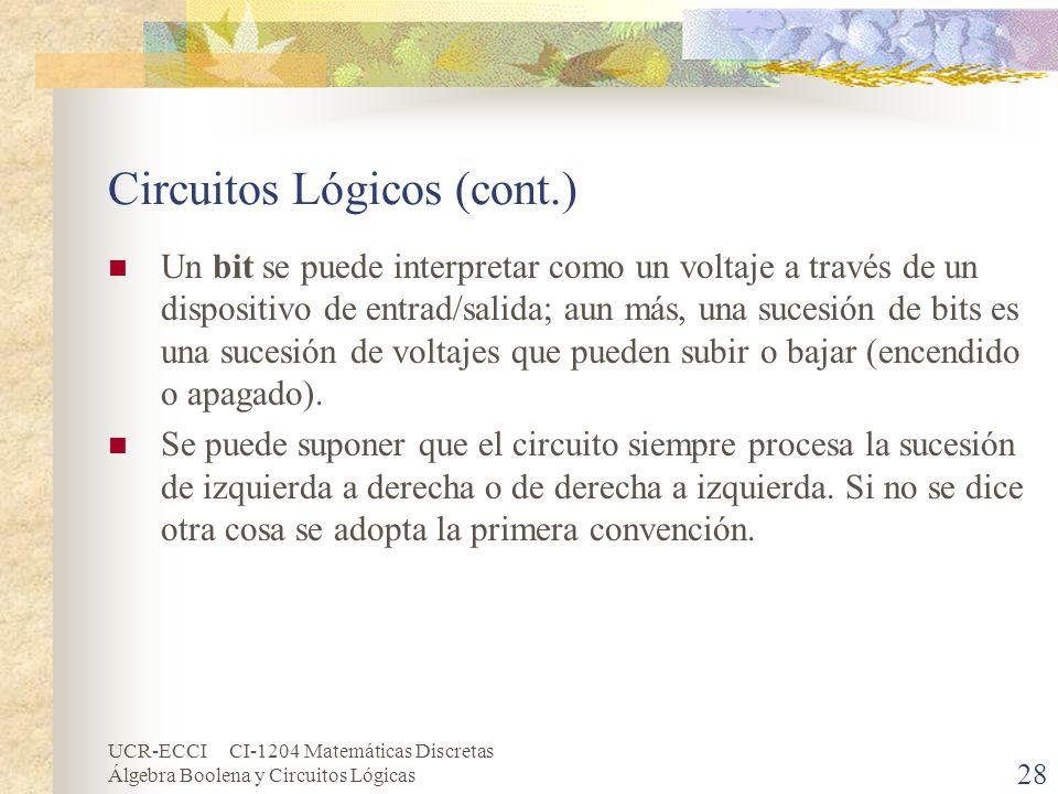 UCR-ECCI CI-1204 Matemáticas Discretas Álgebra Boolena y Circuitos Lógicas 28 Circuitos Lógicos (cont.) Un bit se puede interpretar como un voltaje a