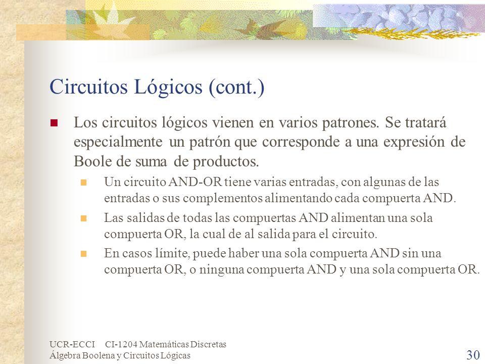UCR-ECCI CI-1204 Matemáticas Discretas Álgebra Boolena y Circuitos Lógicas 30 Circuitos Lógicos (cont.) Los circuitos lógicos vienen en varios patrone