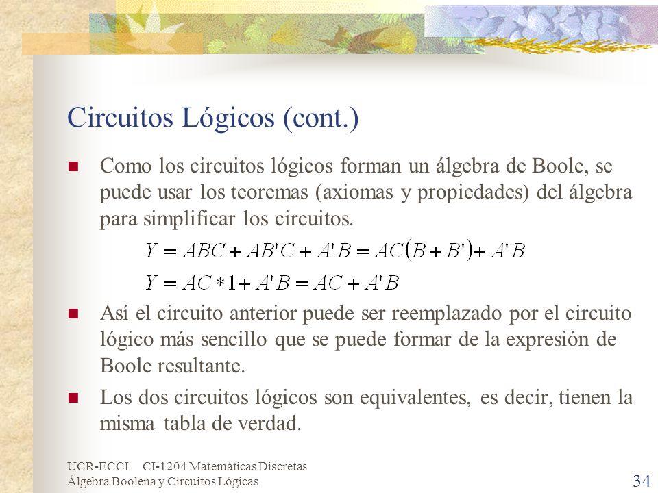 UCR-ECCI CI-1204 Matemáticas Discretas Álgebra Boolena y Circuitos Lógicas 34 Circuitos Lógicos (cont.) Como los circuitos lógicos forman un álgebra d