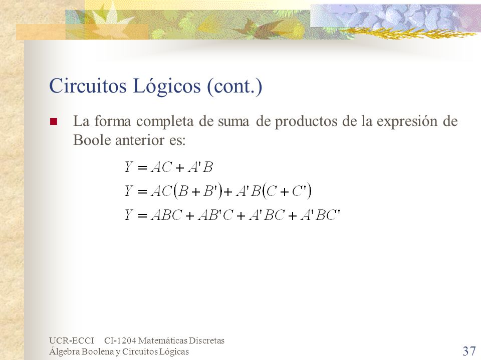 UCR-ECCI CI-1204 Matemáticas Discretas Álgebra Boolena y Circuitos Lógicas 37 Circuitos Lógicos (cont.) La forma completa de suma de productos de la e