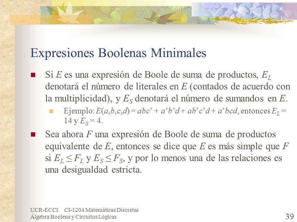 UCR-ECCI CI-1204 Matemáticas Discretas Álgebra Boolena y Circuitos Lógicas 39 Expresiones Boolenas Minimales Si E es una expresión de Boole de suma de
