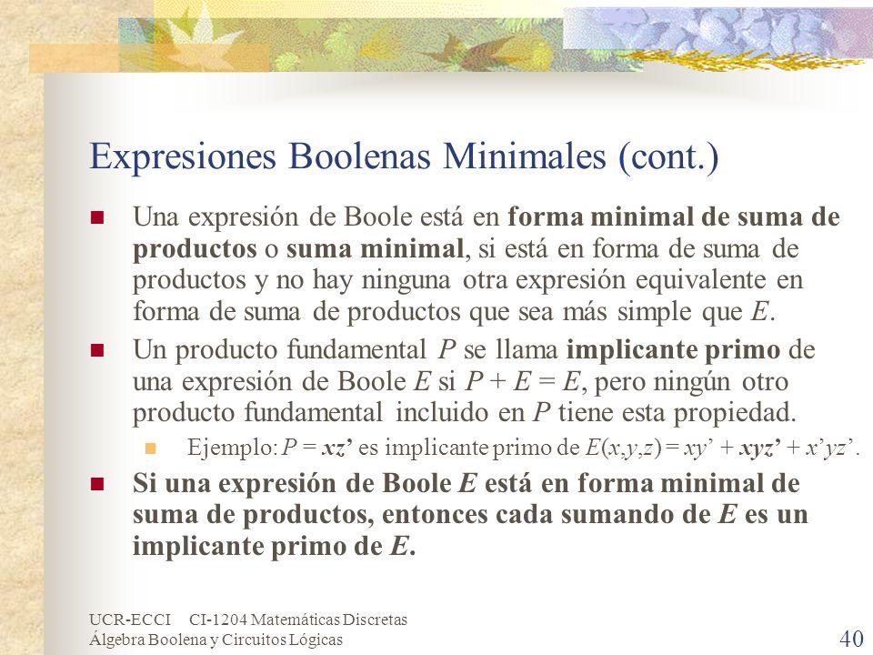 UCR-ECCI CI-1204 Matemáticas Discretas Álgebra Boolena y Circuitos Lógicas 40 Expresiones Boolenas Minimales (cont.) Una expresión de Boole está en fo