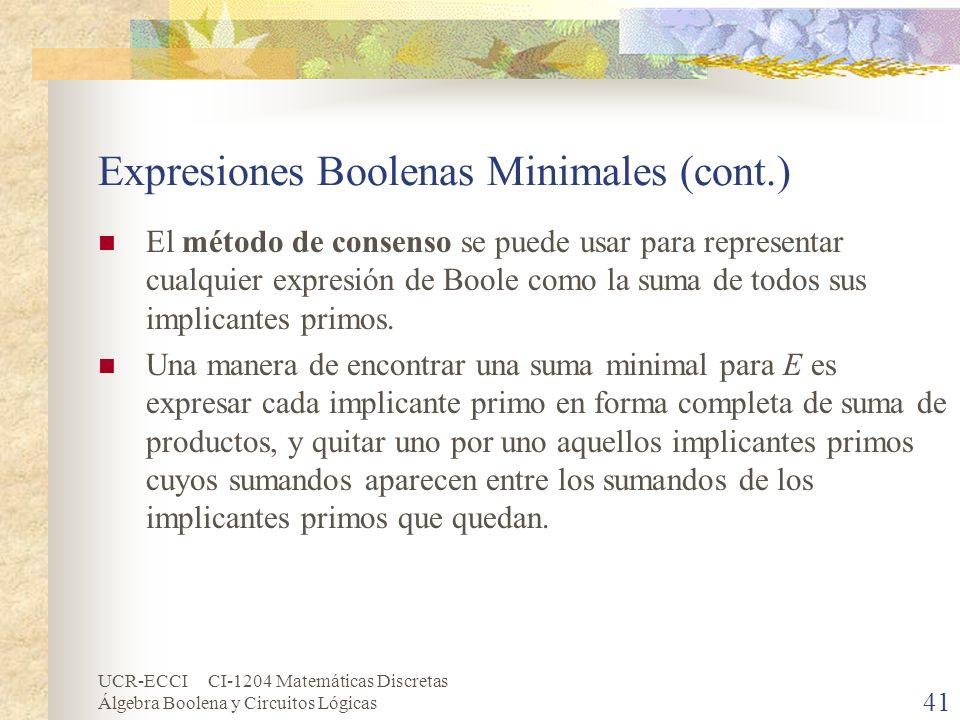 UCR-ECCI CI-1204 Matemáticas Discretas Álgebra Boolena y Circuitos Lógicas 41 Expresiones Boolenas Minimales (cont.) El método de consenso se puede us