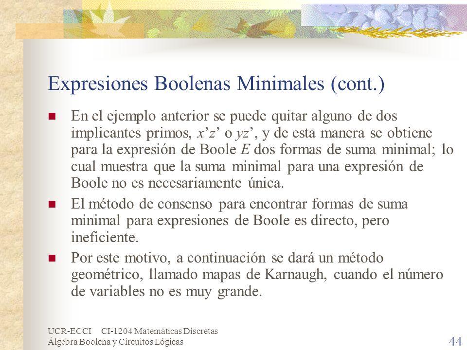 UCR-ECCI CI-1204 Matemáticas Discretas Álgebra Boolena y Circuitos Lógicas 44 Expresiones Boolenas Minimales (cont.) En el ejemplo anterior se puede q