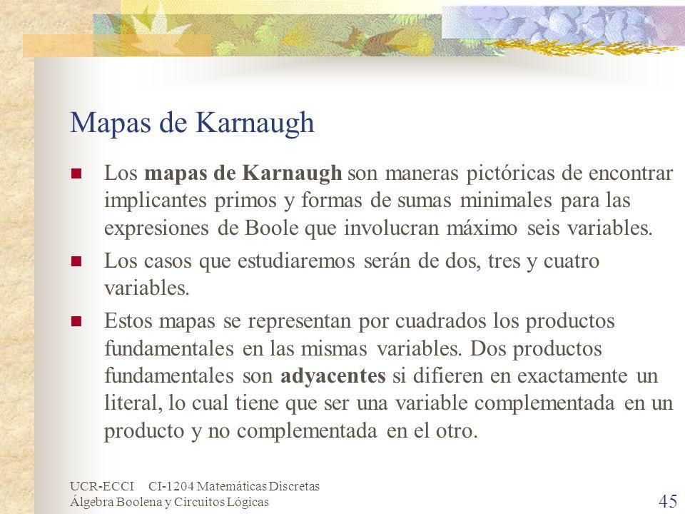 UCR-ECCI CI-1204 Matemáticas Discretas Álgebra Boolena y Circuitos Lógicas 45 Mapas de Karnaugh Los mapas de Karnaugh son maneras pictóricas de encont