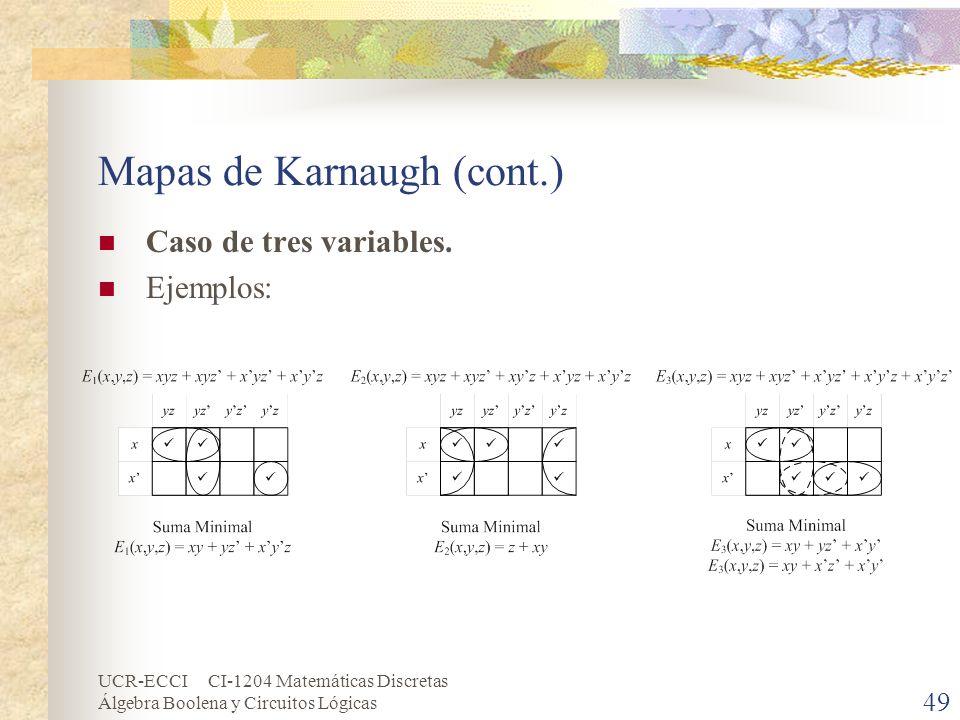 UCR-ECCI CI-1204 Matemáticas Discretas Álgebra Boolena y Circuitos Lógicas 49 Mapas de Karnaugh (cont.) Caso de tres variables. Ejemplos: