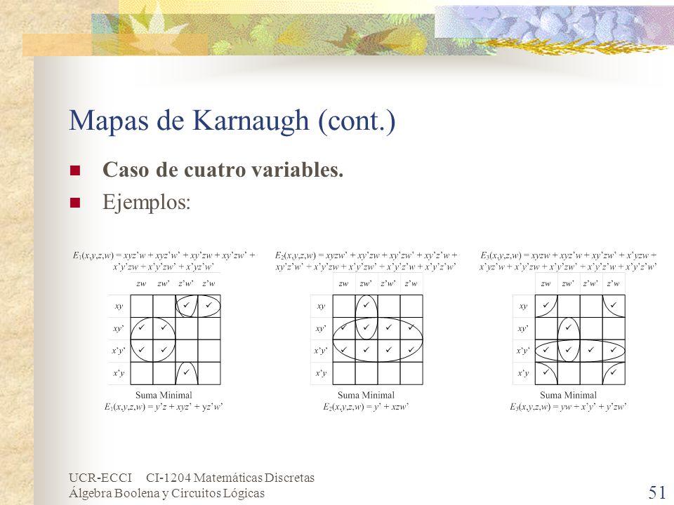 UCR-ECCI CI-1204 Matemáticas Discretas Álgebra Boolena y Circuitos Lógicas 51 Mapas de Karnaugh (cont.) Caso de cuatro variables. Ejemplos: