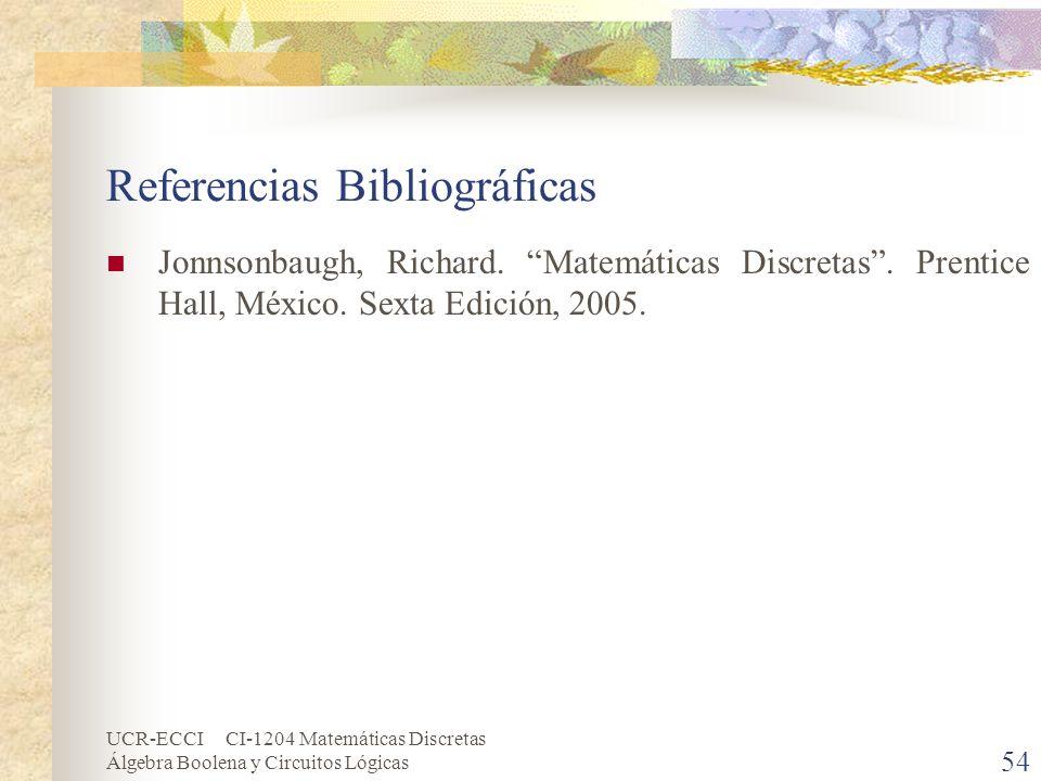 UCR-ECCI CI-1204 Matemáticas Discretas Álgebra Boolena y Circuitos Lógicas 54 Referencias Bibliográficas Jonnsonbaugh, Richard. Matemáticas Discretas.