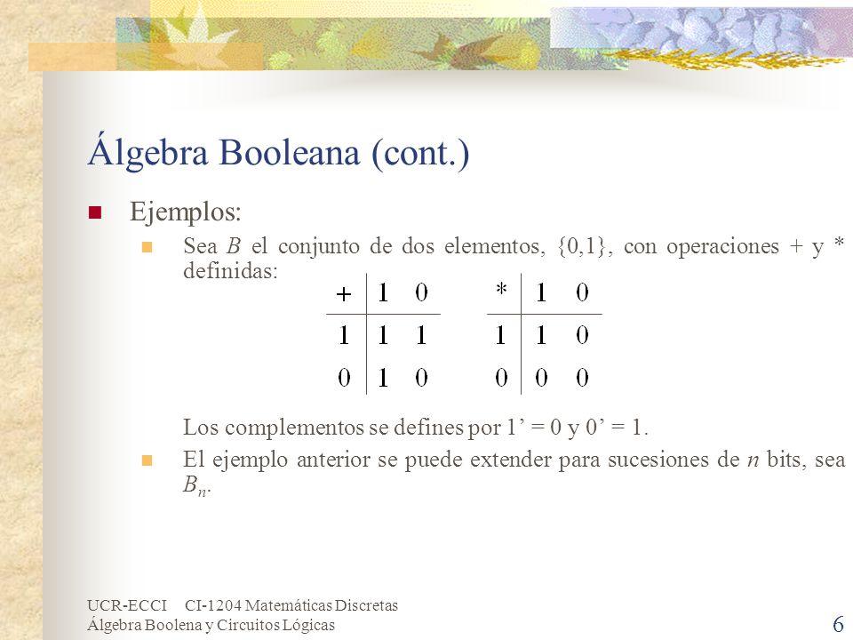 UCR-ECCI CI-1204 Matemáticas Discretas Álgebra Boolena y Circuitos Lógicas 6 Álgebra Booleana (cont.) Ejemplos: Sea B el conjunto de dos elementos, {0