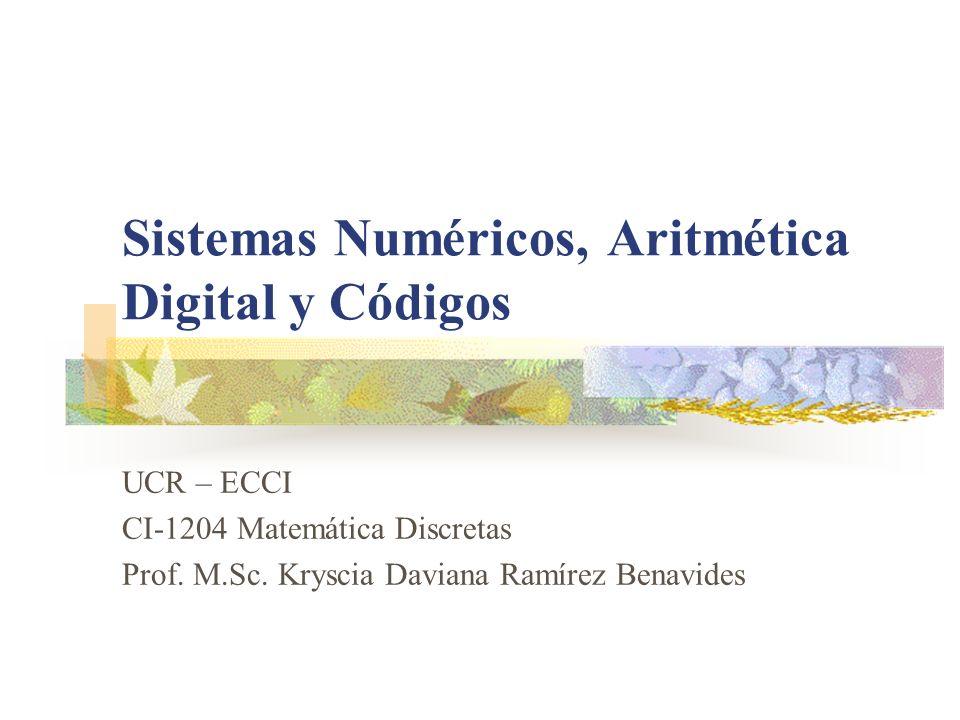 Sistemas Numéricos, Aritmética Digital y Códigos UCR – ECCI CI-1204 Matemática Discretas Prof. M.Sc. Kryscia Daviana Ramírez Benavides