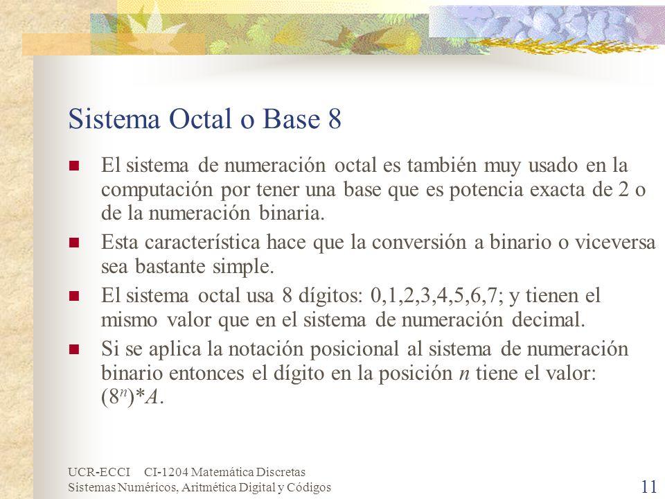 UCR-ECCI CI-1204 Matemática Discretas Sistemas Numéricos, Aritmética Digital y Códigos 11 Sistema Octal o Base 8 El sistema de numeración octal es tam