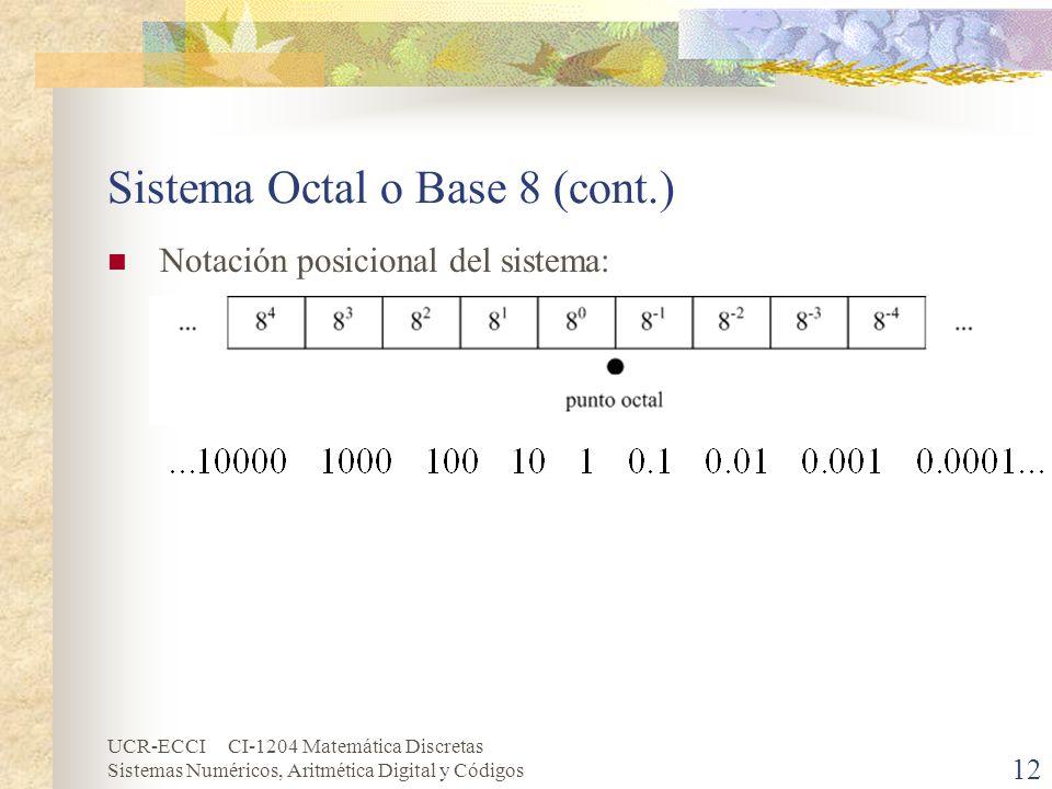 UCR-ECCI CI-1204 Matemática Discretas Sistemas Numéricos, Aritmética Digital y Códigos 12 Sistema Octal o Base 8 (cont.) Notación posicional del siste
