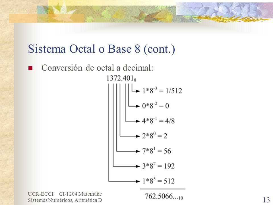 UCR-ECCI CI-1204 Matemática Discretas Sistemas Numéricos, Aritmética Digital y Códigos 13 Sistema Octal o Base 8 (cont.) Conversión de octal a decimal