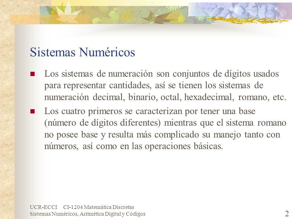 UCR-ECCI CI-1204 Matemática Discretas Sistemas Numéricos, Aritmética Digital y Códigos 2 Sistemas Numéricos Los sistemas de numeración son conjuntos d