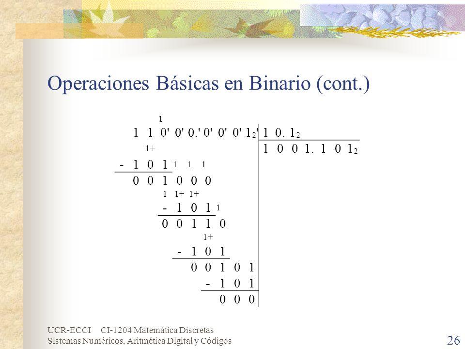 UCR-ECCI CI-1204 Matemática Discretas Sistemas Numéricos, Aritmética Digital y Códigos Operaciones Básicas en Binario (cont.) 26 1 110' 0.'0' 12'12'10