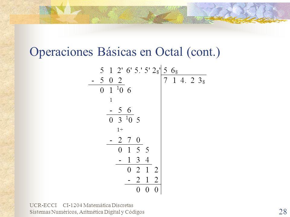UCR-ECCI CI-1204 Matemática Discretas Sistemas Numéricos, Aritmética Digital y Códigos Operaciones Básicas en Octal (cont.) 28 512'6'5.'5'28'28'56868