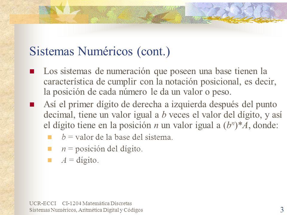 UCR-ECCI CI-1204 Matemática Discretas Sistemas Numéricos, Aritmética Digital y Códigos 3 Sistemas Numéricos (cont.) Los sistemas de numeración que pos