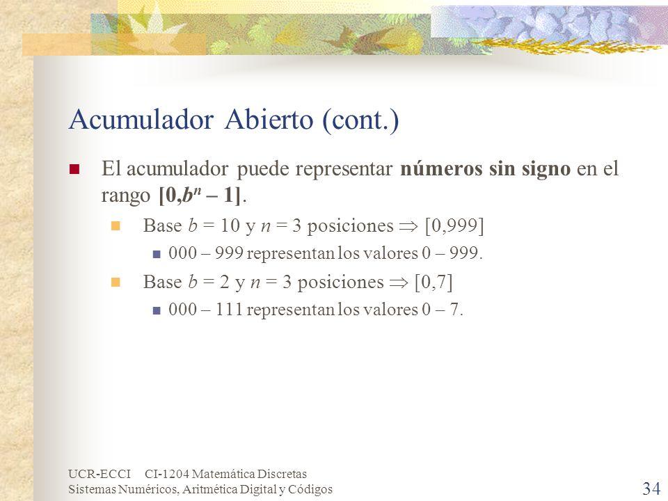 UCR-ECCI CI-1204 Matemática Discretas Sistemas Numéricos, Aritmética Digital y Códigos Acumulador Abierto (cont.) El acumulador puede representar núme