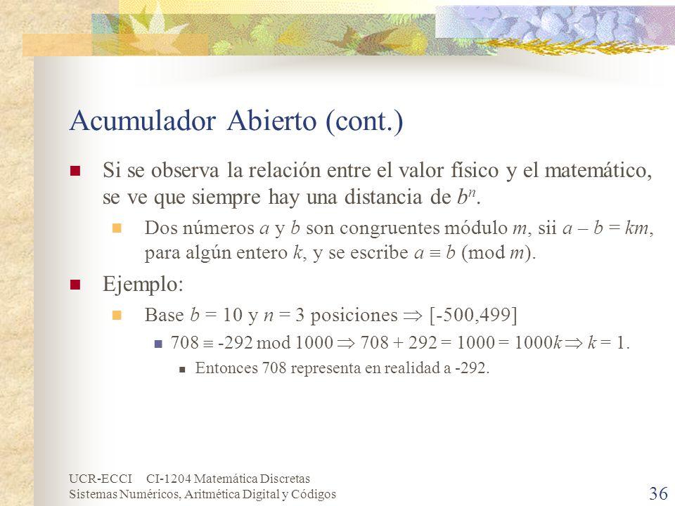UCR-ECCI CI-1204 Matemática Discretas Sistemas Numéricos, Aritmética Digital y Códigos Acumulador Abierto (cont.) Si se observa la relación entre el v