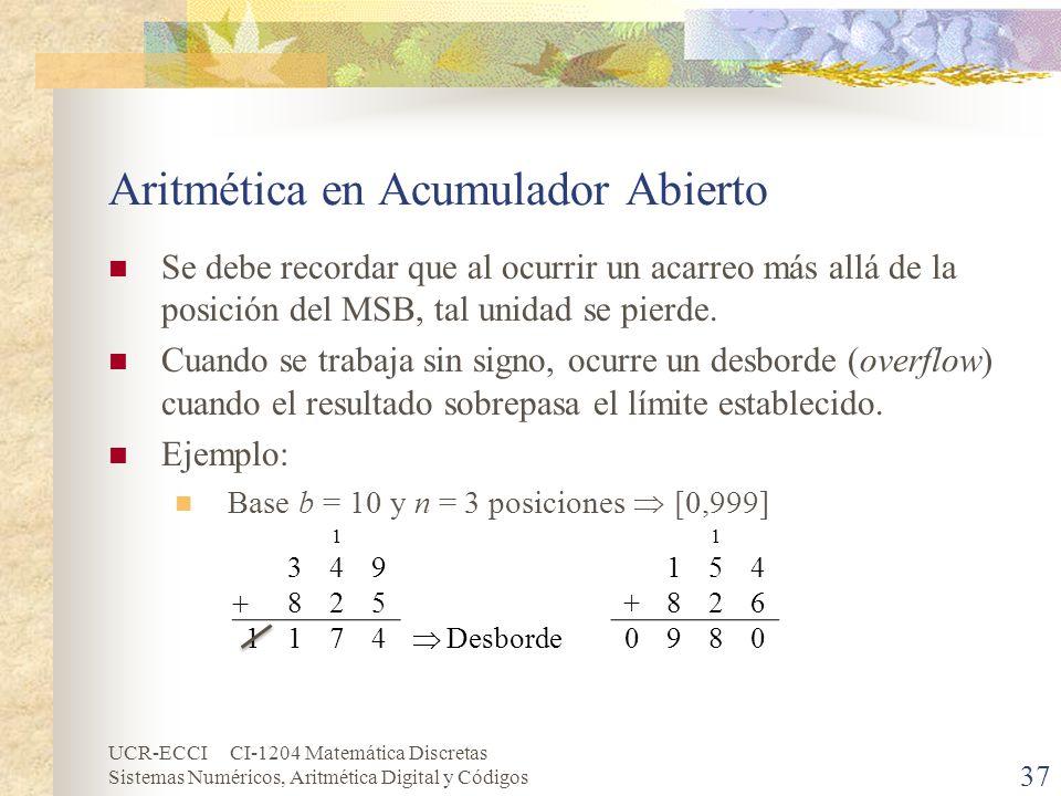 UCR-ECCI CI-1204 Matemática Discretas Sistemas Numéricos, Aritmética Digital y Códigos Aritmética en Acumulador Abierto Se debe recordar que al ocurri