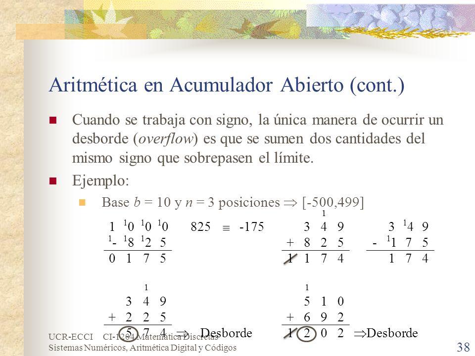 UCR-ECCI CI-1204 Matemática Discretas Sistemas Numéricos, Aritmética Digital y Códigos Aritmética en Acumulador Abierto (cont.) Cuando se trabaja con