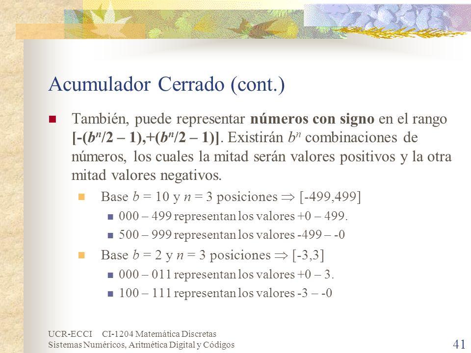 UCR-ECCI CI-1204 Matemática Discretas Sistemas Numéricos, Aritmética Digital y Códigos Acumulador Cerrado (cont.) También, puede representar números c