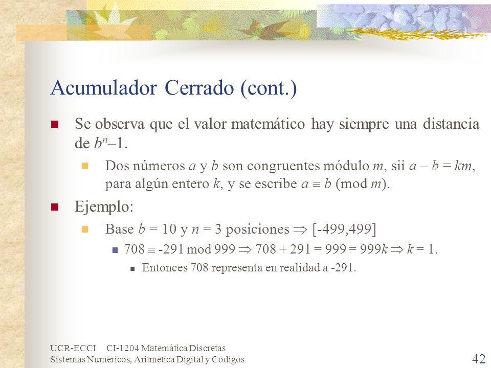 UCR-ECCI CI-1204 Matemática Discretas Sistemas Numéricos, Aritmética Digital y Códigos Acumulador Cerrado (cont.) Se observa que el valor matemático h