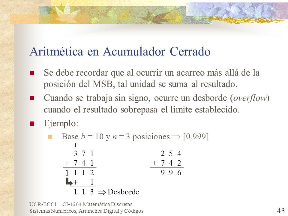 UCR-ECCI CI-1204 Matemática Discretas Sistemas Numéricos, Aritmética Digital y Códigos Aritmética en Acumulador Cerrado Se debe recordar que al ocurri