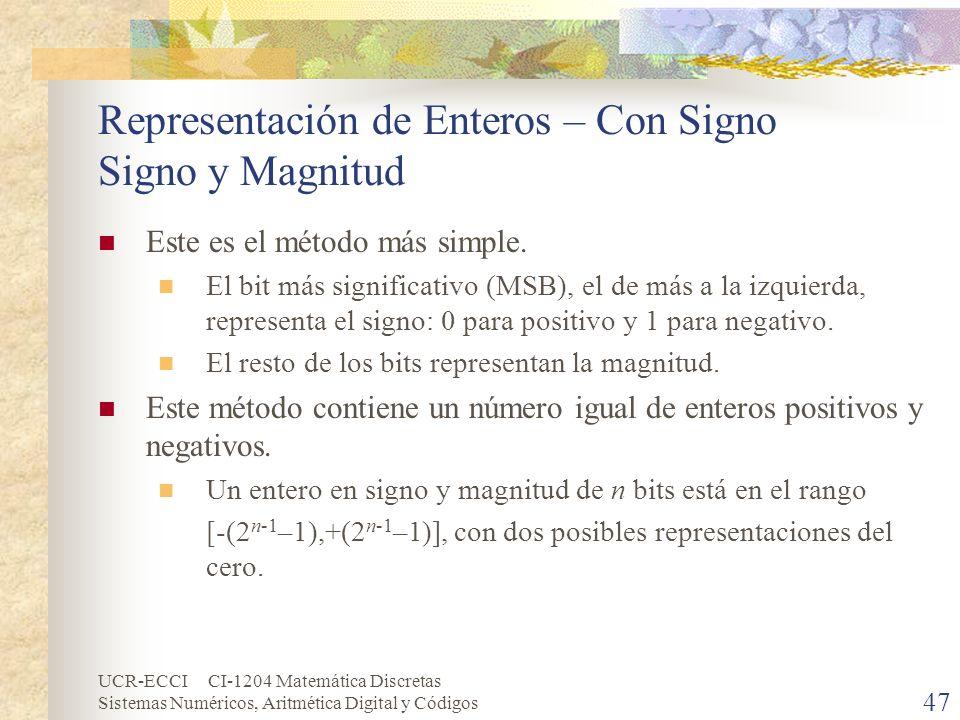 UCR-ECCI CI-1204 Matemática Discretas Sistemas Numéricos, Aritmética Digital y Códigos Representación de Enteros – Con Signo Signo y Magnitud Este es