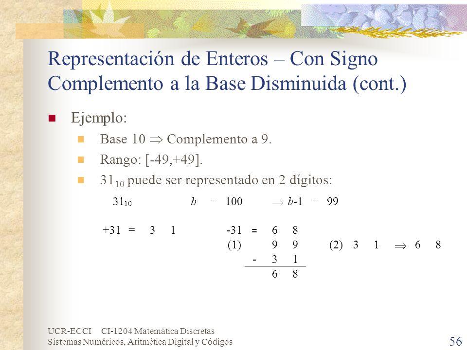UCR-ECCI CI-1204 Matemática Discretas Sistemas Numéricos, Aritmética Digital y Códigos Representación de Enteros – Con Signo Complemento a la Base Dis