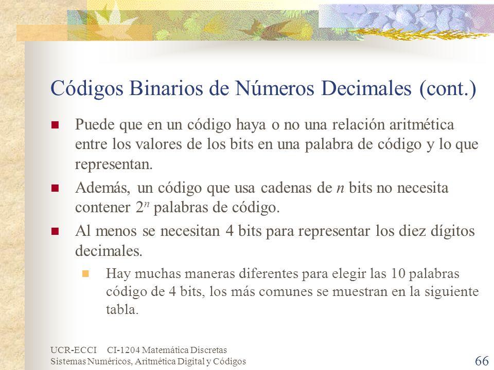 UCR-ECCI CI-1204 Matemática Discretas Sistemas Numéricos, Aritmética Digital y Códigos Códigos Binarios de Números Decimales (cont.) Puede que en un c