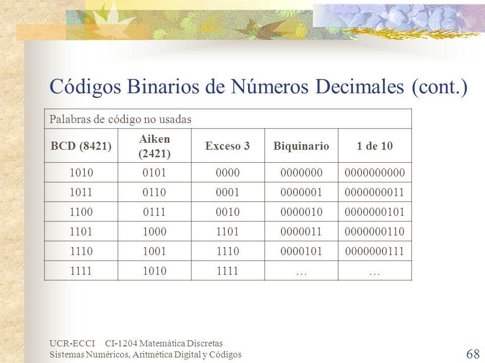 UCR-ECCI CI-1204 Matemática Discretas Sistemas Numéricos, Aritmética Digital y Códigos Códigos Binarios de Números Decimales (cont.) Palabras de códig