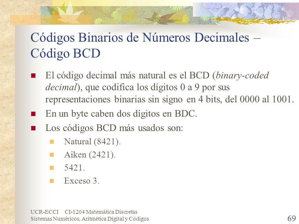 UCR-ECCI CI-1204 Matemática Discretas Sistemas Numéricos, Aritmética Digital y Códigos Códigos Binarios de Números Decimales – Código BCD El código de