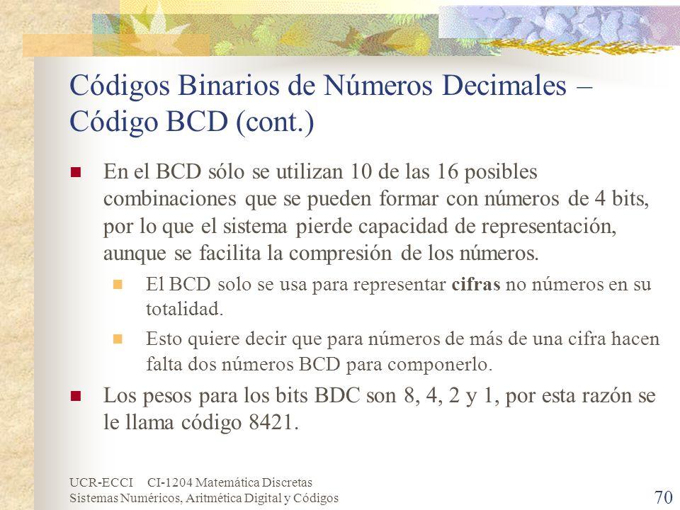 UCR-ECCI CI-1204 Matemática Discretas Sistemas Numéricos, Aritmética Digital y Códigos Códigos Binarios de Números Decimales – Código BCD (cont.) En e