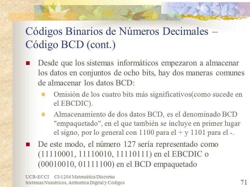 UCR-ECCI CI-1204 Matemática Discretas Sistemas Numéricos, Aritmética Digital y Códigos Códigos Binarios de Números Decimales – Código BCD (cont.) Desd