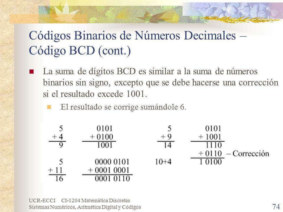 UCR-ECCI CI-1204 Matemática Discretas Sistemas Numéricos, Aritmética Digital y Códigos Códigos Binarios de Números Decimales – Código BCD (cont.) La s