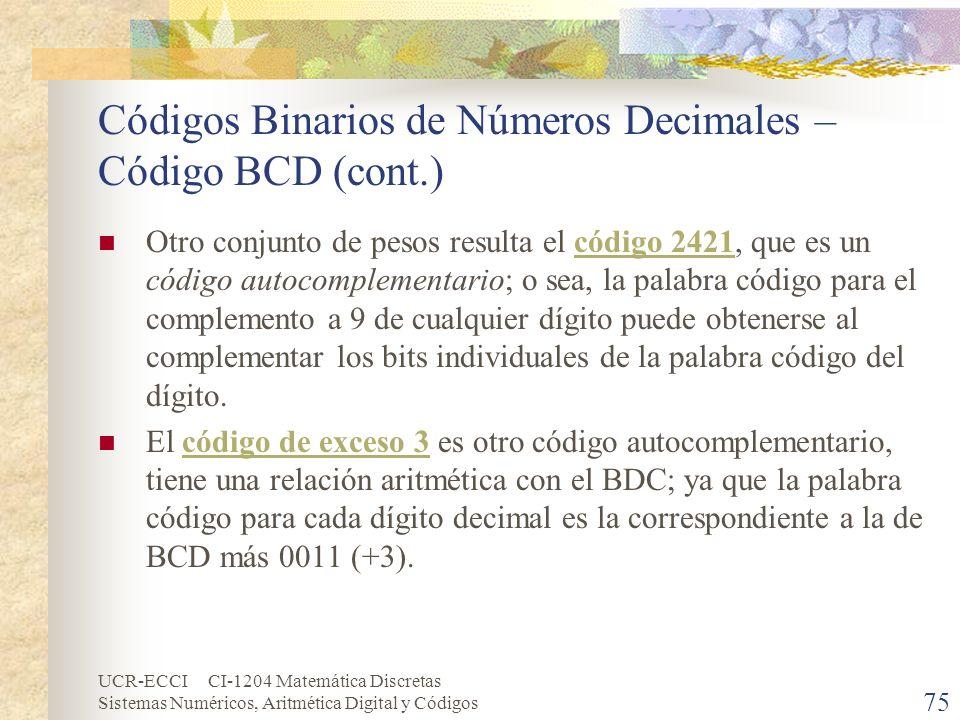 UCR-ECCI CI-1204 Matemática Discretas Sistemas Numéricos, Aritmética Digital y Códigos Códigos Binarios de Números Decimales – Código BCD (cont.) Otro
